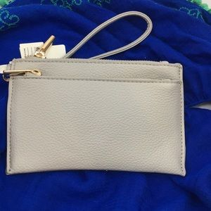 NWT Gray Faux Leather Double Compartment Wristlet